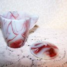Akro Agate Red Onyx Oxblood White IP Childs Teapot w Lid Internal Panel Vintage