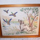 Vintage Needlework Dog Duck Hunting Cabin Lodge HomeSpun Prairie Country Canine