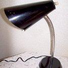 Vintage Desk Lamp Retro Mid Century 50s Mad Men Black Adjustable Stem Works Fin