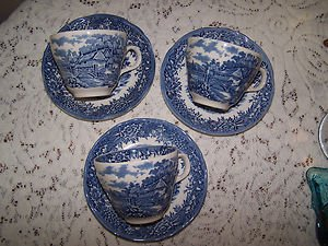 Vintage Salem English Village Staffordshire 3 Cups Sauc Romantic Prairie Cottage