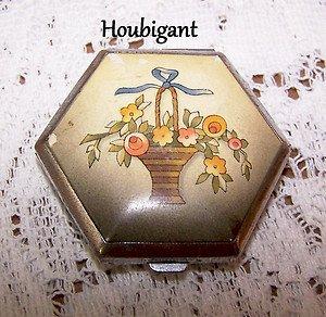 Vintage Compact Houbigant 1934 Floral Basket TriHinge Retro Pre WWII Vanity Rare