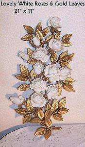 Vintage White Roses HOMCO 1973 Lrge Wall Decor Art Romantic Prairie Cottage Chic