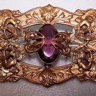 Vintage Brooch Art Nouveau Victorian Purple Re Enact Renaissance Medieval Wiccan
