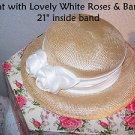 Vintage Hat Summer Woven White Roses Satin Band Summer Wedding Bridal Bride Nice