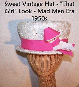 """True Vintage Hat Wedding Bridal Mad Men Era 1950s Pink AWESOME 21.5"""" Inside Band"""