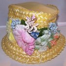 True Vintage Hat Mad Men Era 1950s Woven w Floral Accent New Look Era 1947 - 64