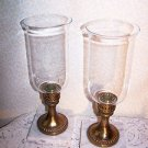 Vintage Candlestick Glass Shades Marble Base Ornate Brass Hollywood Regency Chic
