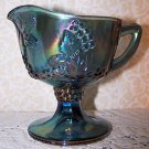 Vintage Indiana Harvest Grape Blue Carnival Glass Pedestal Creamer Ex Condition