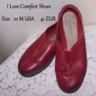 Comfort Shoes I Love Comfort Red Leather Low Slip On Excellent Condition 10 M