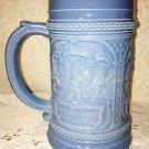 Westmoreland Stein Early Mustard Container Dwarfs Gnome Elfs Blu Opal Glass 1905