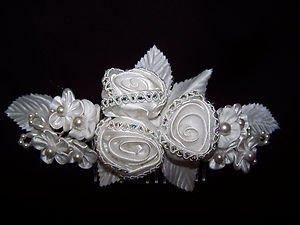 Bridal Wedding Hair Comb White Satin Roses Pearls Lovely Veil Element Romantic
