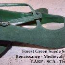 Vintage Shoes Renaissance Festival LARP Theater GreenSuede SCA NEW 10M