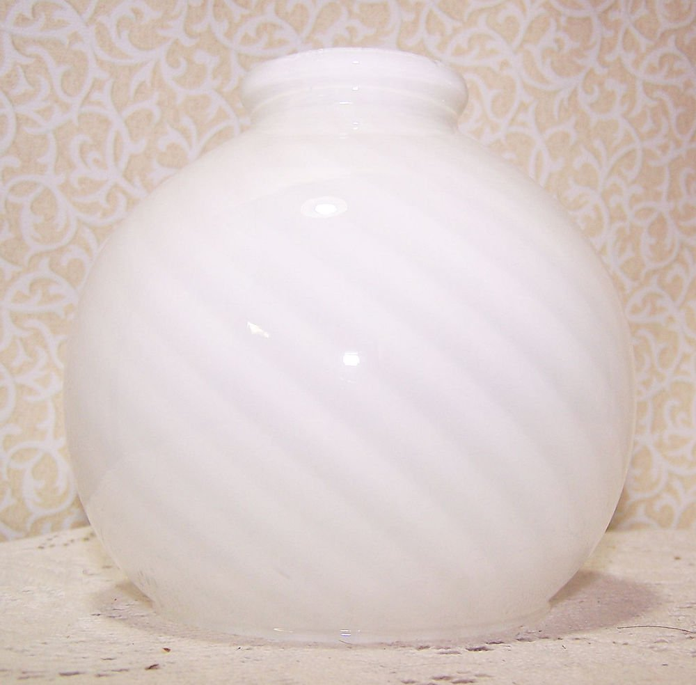 "Light Lamp Shade Glass Vintage Swirl Art Deco No Chips or Cracks 2 1/8"" Fitter"