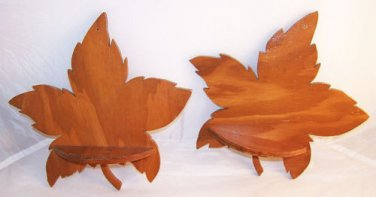 Vintage 1940s Wooden Shelves 2 Handmade Leaf Cottage Cabin Prairie Country Lodge