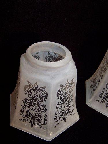 Antique Light Shades Glass Gillinder Romantic Victorian Replacement 2pcs RARE