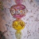 """Glass Ornaments Handmade Lovely & Unique Shape Colors Elegant Vintage 7 """"  3pcs"""