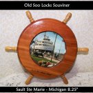 Michigan Soo Locks Souvenir Photo in Ships Wheel MI Decor Nautical Beach Cottage