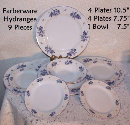 Farberware Hydrangea 9 pieces u003d 4 Plates 10.5  - 4 Plates 7.75  - 1 Bowl 7.5  & Farberware Hydrangea 9 pieces u003d 4 Plates 10.5