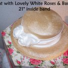 Bridal Hat Wedding Bride Vintage White Satin Roses Woven Romantic Prairie Charm