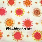 Vintage Fabric Cotton 1960s 70s Unused Retro Hippie MOD Design Cotton Yardage