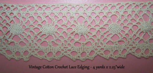 Vintage Lace Cotton Crochet Trim Antique Homespun Suttler Civil War Re Enactor