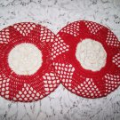 Vintage Crochet Hot Pads Red White Retro 30s 40s Kitchen Dining Decor Accessory