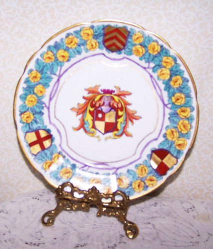 Vintage Dresden Saxe Plate Germany Coat of Arms Yellow Roses Hand Painted RARE