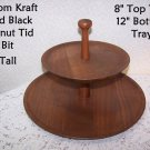 Vintage Wood Tid Bit Black Walnut Kustom Kraft USA Party Serving Petit Fours