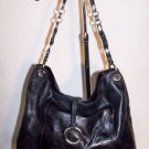 Vintage Handbag Genuine Leather Franco Sarto Designer Fashion Black Large ExCond