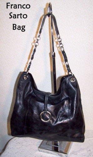 Vintage Handbag Genuine Leather Franco Sarto Designer Fashion Black Large ExCond