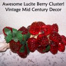 Vintage Lucite Red Berries Retro 60s 70s Holiday Decor Table Accent Bright Clear