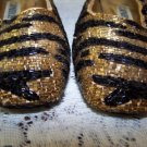 Vintage Shoes Beaded Black & Gold Tiger ish Stripes Holiday Glam Glitz NICE 7.5M