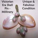 Victorian Pin Broach Millinery Shell Edwardian Jewelry OOAK HandMade Art RARE