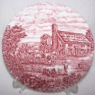 """Plate Bursley Post House England Dresden Vintage Red Crème Cottage Chic RARE 8"""""""