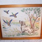 Needlework Dog Duck Hunting Cabin Lodge Vintage HomeSpun Prairie Country Canine