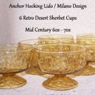 Anchor Hocking Lido Soreno Milano Honey Vintage 1960s 70s Desert Sherbet Cups 8