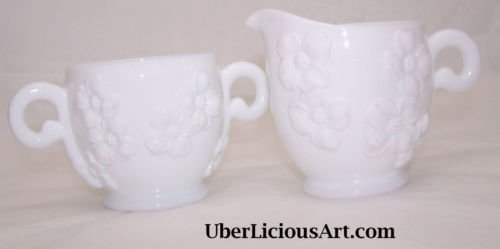 Hazel Atlas Dogwood Milk Glass Cream & Sugar Vintage Country Southern Belle Chic