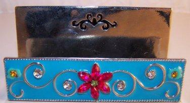 Busines Card Holder Desk Counter Vintage Style Pink & Turquoise Silver Base NEW