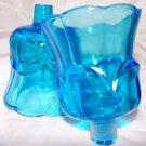 Glass Candle Cups Votive Vintage Home Interior 2 Ocean Sky Blue Rare Flower Shap