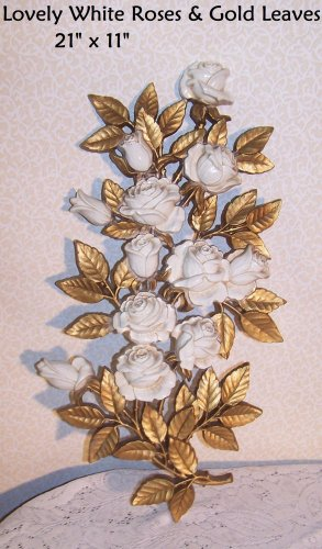 White Roses Wall Art Vintage HOMCO 1973 Decor Romantic Prairie Cottage Chic 2pc