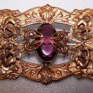 Purple Bridal Brooch Pin Victorian Re Enact Art Nouveau Renaissance LARGE Ornate