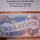 Needlework Vintage WELCOME Oak Frame Home Spun Prairie Cottage Country Americana