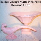 Pink Pottery Pheasant & Urn Matte Finish Vintage Mid Century Mad Men Retro 50s