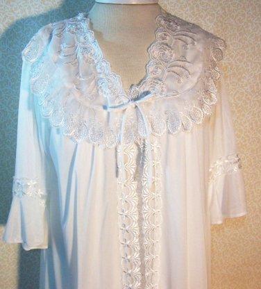 Peignoir Wedding Bride Bridal White 2pc Trousseau Romantic Embroidery Trim Sz Lg