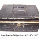 Cash Box Shabby & Chic Distressed Tin Antique Primitive DIY UpCycle Art Recycle