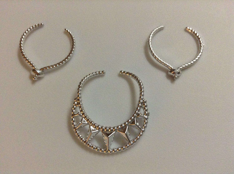 3 Silver Plastic Barbie Necklaces