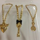 3 Gold Plastic Barbie Necklaces