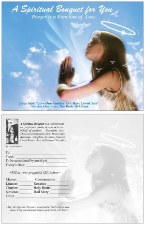Angel Spiritual Bouquet Card 4x5 Catholic  $1.50  Free SH-cont USA