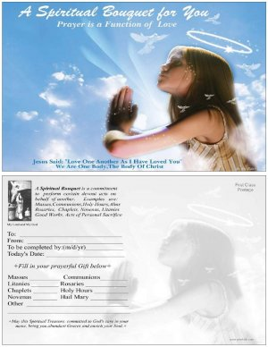 Angel Spiritual Bouquet Card 5 x 8 Catholic  $3.00 Free SH - cont USA