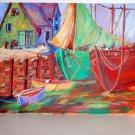 Watercolor on Paper of Fishing Boats at Dock